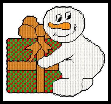 #0260 SEASONS GREETINGS SNOWMAN  Plastic Canvas  PATTERN